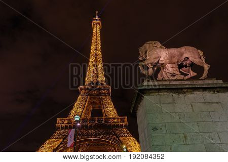 PARIS FRANCE - MAY 12 2017 : Beautiful light of The Eiffel Tower at night