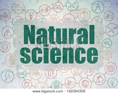 Science concept: Painted green text Natural Science on Digital Data Paper background with  Scheme Of Hand Drawn Science Icons