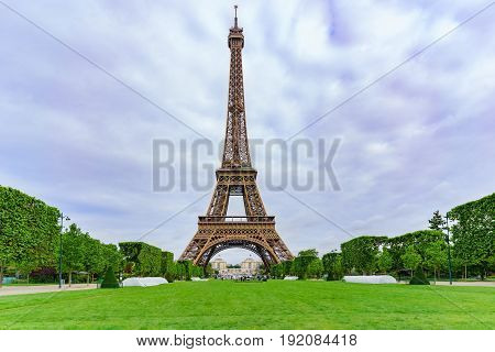 The famous Eiffel Tower in the cloudy day Paris France