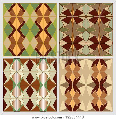 Set of art deco tiles in nostalgic colors. Vintage decorative background collection