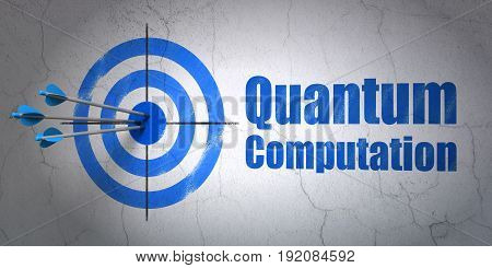 Success Science concept: arrows hitting the center of target, Blue Quantum Computation on wall background, 3D rendering