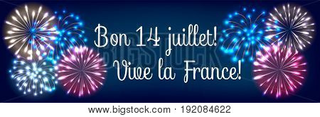 Web banner for Bastille day fireworks in colors of french flag