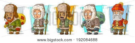 Cartoon north arctic fisherman with spear and basket character vector set
