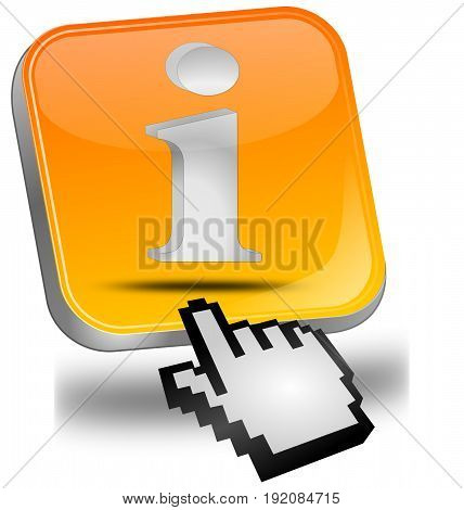 orange Information Button with cursor - 3D illustration