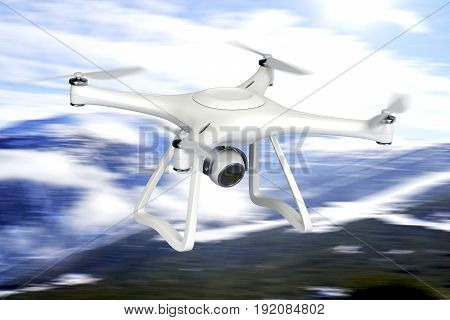 Drone equipped with high resolution camera fly over the mountain, 3D illustration