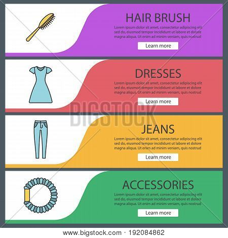 Women's accessories web banner templates set. Hair brush and scrunchy, sun frock, skinny jeans. Website color menu items. Vector headers design concepts