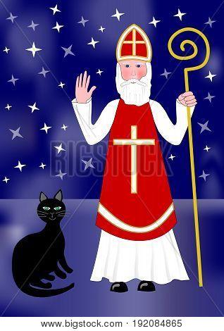Santa Nicolas and black cat on night background with stars.