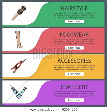 Women's accessories banner templates set. Hair brush and straightener, high shoe, necklace. Website menu items. Color web banner. Vector headers design concepts