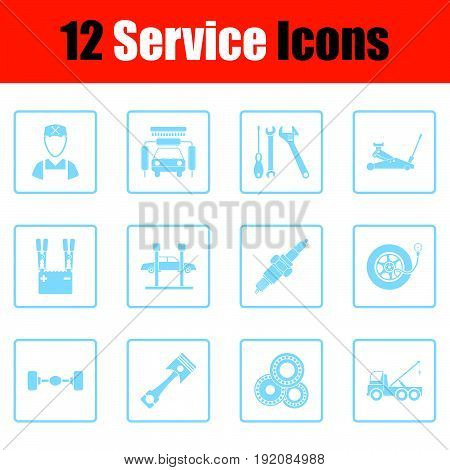 Set Of Twelve Service Station Icons