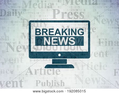 News concept: Painted blue Breaking News On Screen icon on Digital Data Paper background with  Tag Cloud