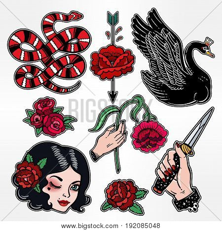 Set of dangerous femme fatale related classic flash tattoo style patches or elements. Set of traditional stickers, pins, in 90's comic style. Pop art items. Fashionable vector collection, vintage kit.