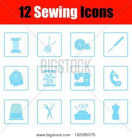 Set Of Twelve Sewing Icons