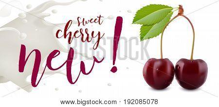 Yogurt Cherry concept. Realistic cherry vector illustration with milk splash