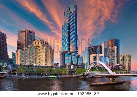 City of Melbourne. Cityscape image of Melbourne, Australia during summer sunrise.