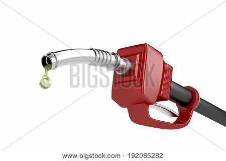 Fuel pump nozzle with last drop of fuel isolated on white background. 3D illustration