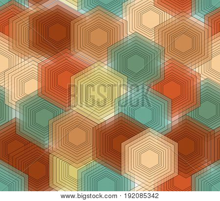 Hexagonal patterns in nostalgic colors seamless vector abstract background eps10 vector