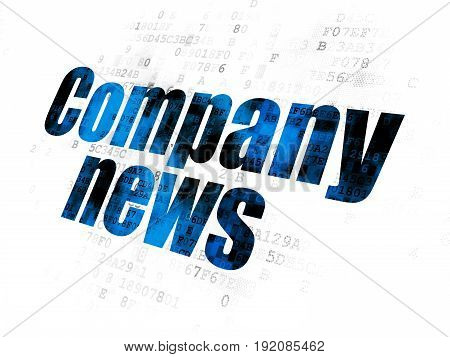 News concept: Pixelated blue text Company News on Digital background