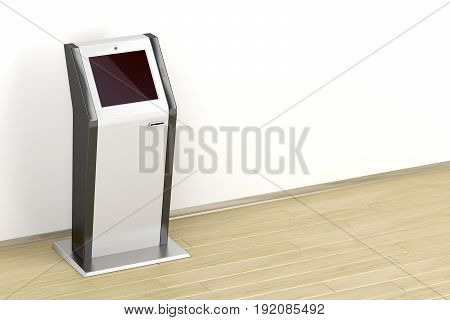 Interactive information kiosk in the room, 3D illustration