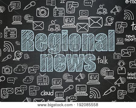 News concept: Chalk Blue text Regional News on School board background with  Hand Drawn News Icons, School Board