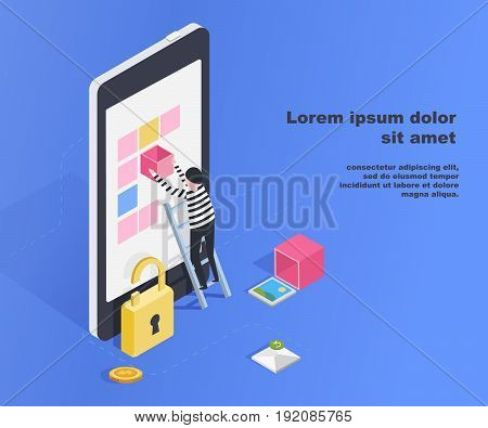 Hacking smartphone user database. Insecure connection, online scam, email viruses, Isometric flat vector