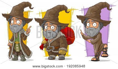 Cartoon old bearded wizard traveler with big hat character vector set