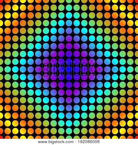Seamless vector tile with colorful dotted rhomboid patterns multicolored dots on black background