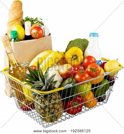 Shopping fresh basket vegetables healthy eating healthy food paper bag