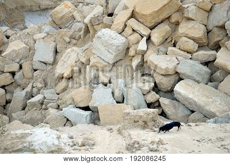 Mining quarrying and production of stone at a forsaken quarry