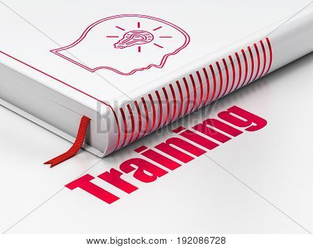 Education concept: closed book with Red Head With Lightbulb icon and text Training on floor, white background, 3D rendering