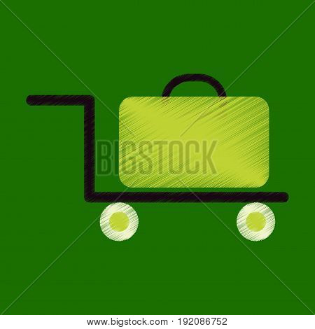 Flat Icon in Shading Style suitcase on trolley