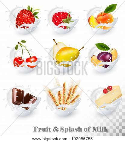 Big collection of fruit in a milk splash. Strawberry raspberry plum pear peach cherry chocolate cheesecake wheat ears. Vector Set 16.