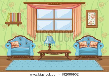 Set Vector cartoon funny Vintage cushioned furniture, Living room