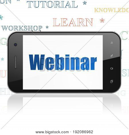 Learning concept: Smartphone with  blue text Webinar on display,  Tag Cloud background, 3D rendering