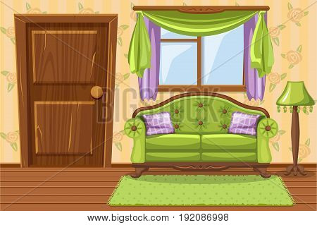 Set Vector cartoon Green Vintage cushioned furniture, Living room