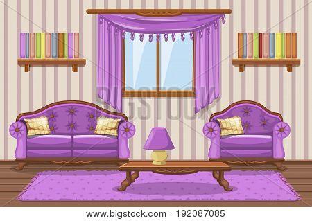 Set Vector cartoon cushioned furniture, violet Living room