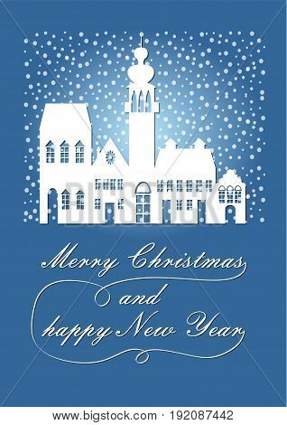 Poetic white silhouette of the ancient city in the Christmas snowfall, wishes Merry Christmas and a Happy New Year. Blue winter background, december nightfall poster