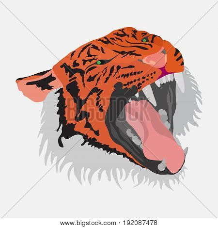 Tiger head flat design wild animal image