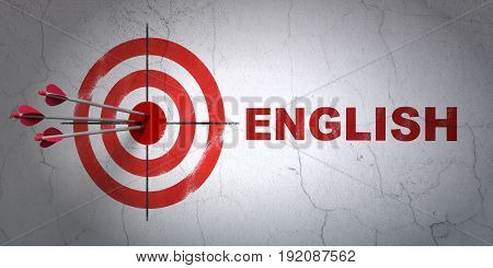 Success Studying concept: arrows hitting the center of target, Red English on wall background, 3D rendering