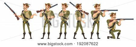 Smiling hunter characters collection in various poses with shotgun knife and bullets isolated vector illustration