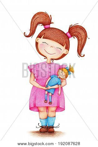 hands drawn picture of little girl in pink dress playing with doll by the color pencils on white background