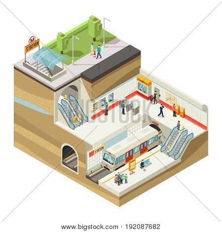 Isometric underground station concept with people buying tickets in service booth passing turnstile waiting for train arrival vector illustration