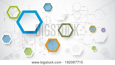 Vector illustration circuit board and 3d paper hexagons background. Hi-tech digital technology and engineering, digital telecom technology concept. Vector abstract futuristic on white gray color background