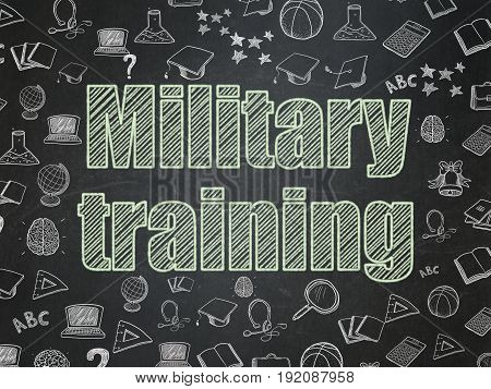 Education concept: Chalk Green text Military Training on School board background with  Hand Drawn Education Icons, School Board