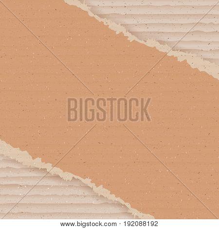 Corrugated cardboard background. Ripped carton wallpaper. Graphic design element for poster, flyer, advertisement, web site. Logistics service, warehouse, transportation concept. Vector illustration