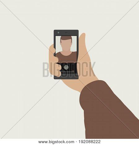 Selfie flat banner. Simple vector illustration of taking selfie photo on smart phone.
