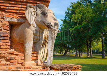 Sukhothai, Thailand - January 17 2017: Wat Sorasak Temple At Sukhothai Historical Park, A Unesco Wor