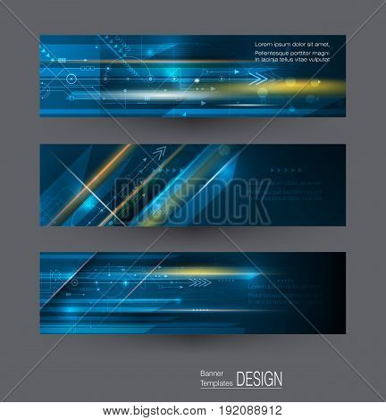 Vector Abstract science, futuristic, energy technology concept. Image of circuit board, arrow sign, light rays, stripes lines with blue light, speed movement motion blur over dark blue background