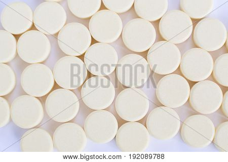 Pharmacy Theme, White Medicine Tablets Isolated On White Background