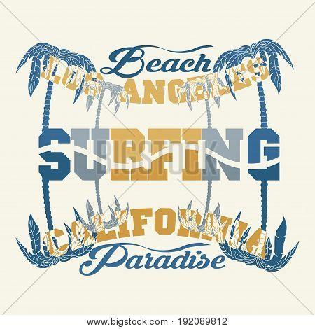 t-shirts surf rider LA Beach california surfing T-shirt inscription typography graphic design emblem