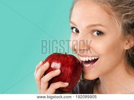 Young woman attractive healthy lifestyle healthy food natural food red